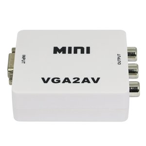 Wholesale hot sale New Mini Composite Video RCA to VGA TV Converter Adapter Box Support NTSC PAL Output HDMI TO AV Adapter with USB Cable