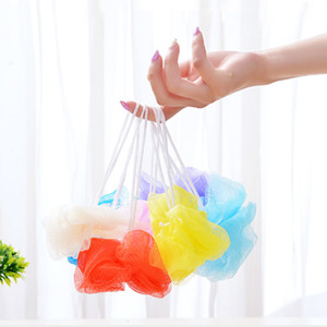 Wholesale Multi Colors g Bath Shower Sponge Pouf Loofahs Nylon Mesh Brush Shower Ball Mesh Bath and Shower Sponge