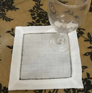 Set of 300 Linen coaster Fashion Table napkin White Linen Embroidered Hemstitched Edgings Cocktail Napkins dress up any Cocktail Party