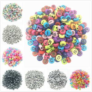 Wholesale 100pcs DIY Square Round Acrylic alphabet Spacer Loose Beads For Necklace Bracelet Letter Beads Charms bisuteria Jewelry