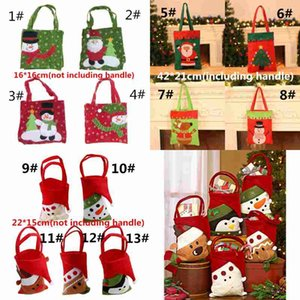Wholesale handmade cloth bags resale online - Christmas Decoration Candy Bag Creative Tree Pattern Santa Snowman Elk Gift Candy Bag Handmade Sewing Christmas Gift apple Bag