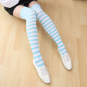 Wholesale Japanese Anime Lolita Girls Stripe Thigh Stockings Over Knee Socks Cosplay Costume Women Girls Stocking