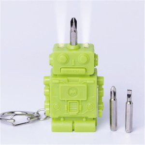 3 in 1 Mini Portable Robot Widget Keychain Hanging Multifunction LED Flashlight Screwdriver Light Up Tools Set H729