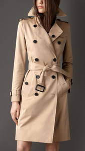 Spring Autumn Casual Trench Coat For Women Plus Size Long Double Breasted Slim Windbreaker Outerwear Elegant Overcoats