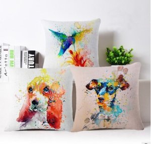 Wholesale 24 styles DIY creative pillow linen cartoon animal printed waist pillows cushion pillow cover for hotel coffee home decorative pillowcase