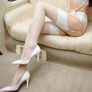 Women wide rib top cuff sexy stockings transparent silk stocking ladies thigh high stockings medias S926