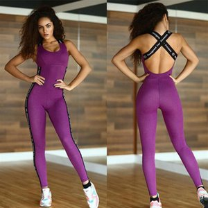 Wholesale Summer explosion models women s new yoga sports fitness pants women s jumpsuit gray purple two colors optional