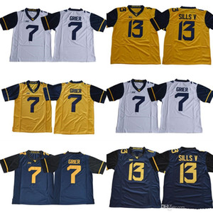 Wholesale 2018 New West Virginia Mountaineers WVU Will Grier David Sills V Blank White Blue Yellow Stitched XII NCAA College Football Jerseys