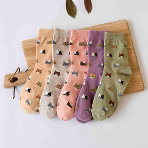 Wholesale 2017 High Quality Colorful Tube Art Casual Cotton Cartoon Cute Cat Face Thin Section Invisible Funny Socks Women Lady Girls