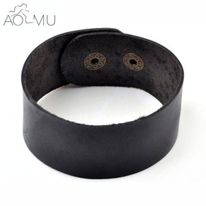 Wholesale AOMU Vintage Black Brown Wide Cuff Leather Bracelet For Men Jewelry Cool Punk Rock Leather Bracelets Bangles