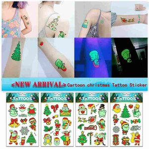 Wholesale Children Cartoon Christmas Fluorescence Glow Tattoo Sticker Waterproof Environmental luminous Tattoo 2018 New Holiday Temporary Tattoos