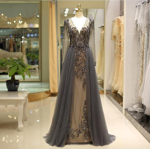 2019 long sleeves dark gray V-neck formal evening dresses beading A-line prom dress long elegant Formal mother of bride dresses 80722