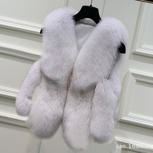 Wholesale Ms Luxury Splicing Fur Coat Good Quality Lady Warm Winter Fox Fur Coat Artificial Vest The Fox Leather Jacket S XXL