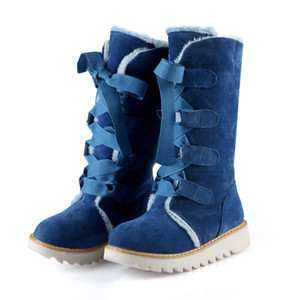 Wholesale Antiskid Warm Women Martin Boots Shoes Thickened Fur Short Boots Lace Up Woman Winter Shoes Mid-Calf Snow Boots ADF-6174