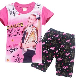 New Children JOJO Pajamas 2pcs Set 2018 Summer Girls Jojo Siwa Tracksuit Cartoon Cute Pajamas outfits T Shirt+pants Pajamas Suit 4-9Y