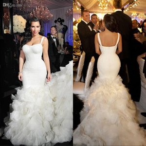 Wholesale 2019 Sexy Mermaid Wedding Dresses Tiered Skirt Spagetti Straps Lace Organza Cathedral Train Fall Bridal Gowns