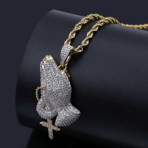 Wholesale praying hands resale online - Whosale Hip Hop Brass Gold Color Iced Out CZ Praying Hands Cross Pendant Necklace Jewelry For Men Women
