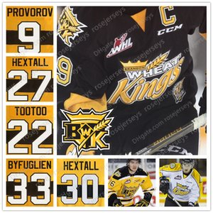 2019 Brandon Wheat Kings Ice Hockey Jersey #9 Ivan Provorov 27 30 Ron Hextall 22 Jordin Tootoo Stitched Black Yellow White Sweaters 4XL