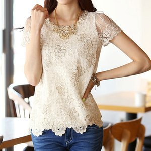 Wholesale Fashion Summer New Women s Chiffon Shirt Lace top Beading Embroidery o neck Women s Blouses Plus Size Blouse S XL