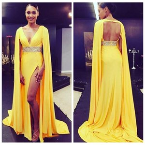 2018 V Neck Sexy Open Back Evening Dresses Yellow High Split Formal Celebrity Red Carpet Dress Beaded High Waite on Sale