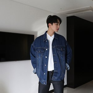 Wholesale 2018 Japanese style laple fashion classic loose Denim jacket Blue black All match coat hot selling High quality clothes S XL