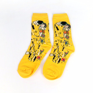Wholesale Male Socks Oil Funny Sock Van Gogh Mural World Famous Painting Series Fashion Retro Women New Personality Art Sock Man Summer