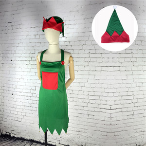 Elf Apron & Hat Set Adult Elf Costume for Christmas Party Fancy Dress Outfits Christmas Decoration QW8659