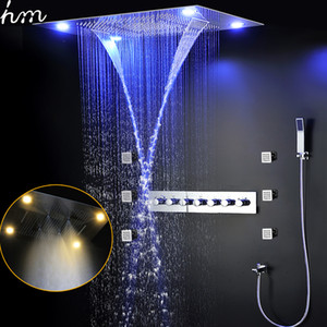 Luxury Bathroom Shower System 6 Functions LED Shower Faucets Set Rain, mist ,waterfall Thermostatic High Flow Diverter Valve