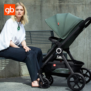GB Baby Stroller 2 in 1 Kids Sit Lie High Landscape Portable Sockproof Pram Folding Reversible Seat Baby Pushchair