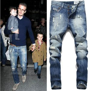 Mens Fake Designer Clothing Jeans Ripped Straight Long Jeans Fashion Trousers Male Clothing Pants