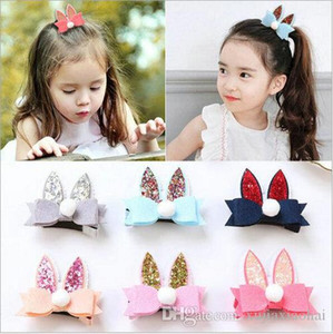 Wholesale 6 colors Kawaii Blink bow rabbit ears hairpin girl lovely hair accessories bobby pin baby girl barrette