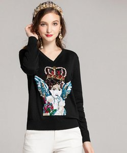 Wholesale new sexy Crew neck Long sleeves crown angel Panelled Print Women s Sweaters Italy Sicily factory Hign End