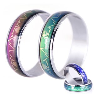 Wholesale Mood Rings For Women Changing Color Heartbeat Ring Men Emotion Feeling Ring Mood Temperature Couple