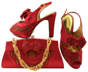 Wholesale Nice looking red shoes matching bags series with bowtie african lady shoes and handbag set for dress MM1038 heel CM