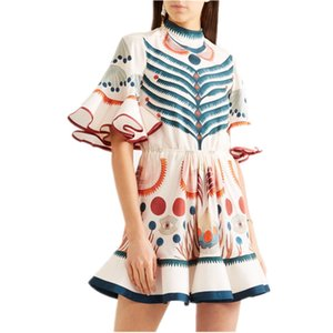 Wholesale Brand Designer Women Runway Print Dresses Summer Fashion Lady Stand Collar Flare Sleeve Ruffles Fish Tail Party Cocktail Boho Gowns