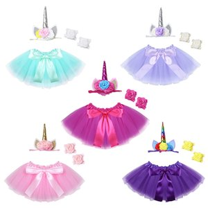Infant Clothing Unicorn Outfit Tutu Skirt with Headband Barefoot Sandals Set Photography Props 100 days Baby Birthday Party Costume LC800