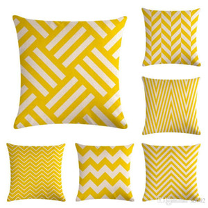 Yellow Geometry Stripe Series Pillow Case Classic Flax Cushion Cover Sofa Bedroom Decorations Pillowslip Hot Sale 5 5zm Ww on Sale