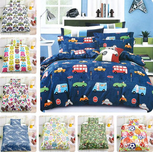 Wholesale Cartoon Kids Bedding Set 3 pcs Dinosaur Sports Animal Pattern Bed Duvet Cover Bed Sheet Pillowcases Cover