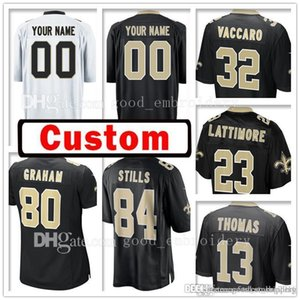 Wholesale New Orleans Custom 13 Michael Thomas Saints 23 Marshon Lattimore Jersey 84 Kenny Stills 80 Jimmy Graham 32 Kenny Vaccaro Jerseys