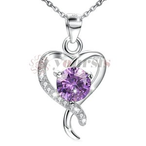 Wholesale Yoursfs Heart Necklace Created Amethyst Neckalce of Love Token Valentine s Day Gift For Girlfriend