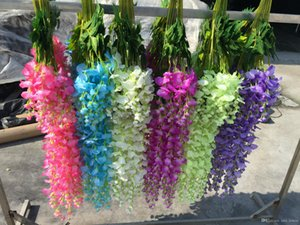 Wholesale 100pcs Artificial Vine Wisteria Flowers Silk Flower and Inch Decorative Flowers For Wedding Centerpieces Decorations Home Party EMS