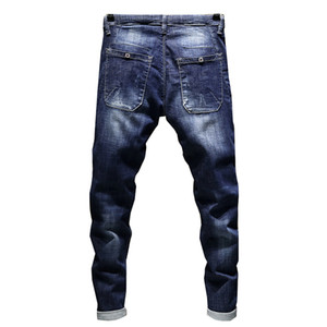 Jeans Men's Stretch Biker Ripped Pants Blue Drawstring Slim Fit Tapered Torn Distressed Boys Student Joggers on Sale
