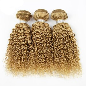 Honey Blonde Deep Wave Curly Hair 3Bundles Hair Extension Brazilian Peruvian Indian Malaysian Remy Hair 8A Grade 27 Strawberry Blonde Bundle on Sale
