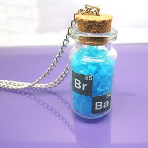 Wholesale Breaking bad inspired crystal sky blue vial cork bottle necklace bath salt Necklace Gifts Classic