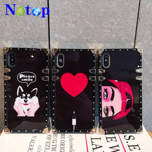 Wholesale Netop New style square electroplated scratch resistant acrylic cartoon cellphone case For iphone p p X Samsung S8 S9