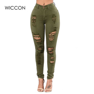 WICCON 2018 New Fashion Plus Size 3XL Ripped Jeans Women Skinny Hole Ripped Denim Pants Female Fasion Casual High Waist Jeans