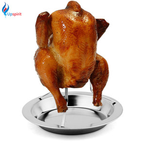 Wholesale grill chicken resale online - Stainless Steel Upright Beer Chicken Holder Cooking Roaster Rack Silver Baking Pan Grilled Roast Rack for Outdoor Camping Bbq Tools