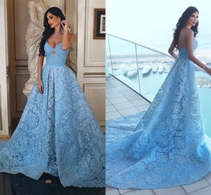 Gorgeous Arabic Sky Blue Lace Evening Dresses Sweetheart Low Back Women Arabic Prom Party Pageant Gowns on Sale