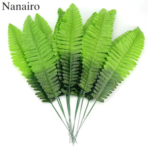 Wholesale 12Pcs Cheap Large Palm Artificial Monstera Palm Tree Leaves Green Silk Leaf Plant For Wedding Home Decoration DIY Fake Flowers