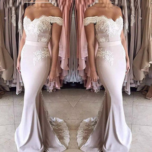 2018 New Blush Pink Lace Chiffon Bridesmaid Dresses Long Off-shoulder Zipper Back Formal Party Gowns Sweet 16 Girls Junior Bridesmaid Dress on Sale
